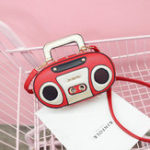 New Women Radio Stereo Shoulder Bag Rivet Cute Crossbody Bag