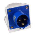 New 3Pin Blue Waterproof Industrial Plug Sockets 220V-250V 16A IP44 Inlet Socket Connector