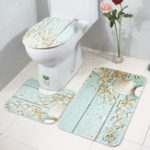 New 3PCS Toilet Seat Covers Bathroom Set Flannel Starfish Shell Toilet Non-Slip Rug Lid Pedestal Mat