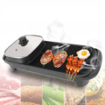 New 2-In-1 220V 1360W Electric Teppanyaki Barbecue BBQ Grill Pan Table Hotpot Oven Cooking Stove