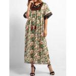 New Boho Floral Print Short Sleeve Embroidery Long Dress