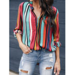 New Women V Neck Rainbow Striped Blouse