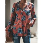 New Women V Neck Chiffon Floral Blouse