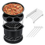 New 7PCS Air Fryer Accessories Set Chips Baking Basket Pizza Pan Home Kitchen Tool