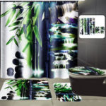 New 72″x72″ Bathroom Bamboo Waterfall Shower Curtain + 12 Hooks Toliet Cover Mat Rug