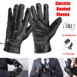 New Motorcycle Electric Heated Gloves Touch Screen Leather Hand Warmer Rechargeable Battery