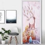 New 3D Door Wall Sticker Fridge Deer Sticker Wrap Mural Decal Art Decor Self Adhesive Room