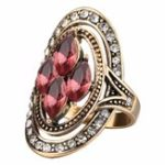 New Bohemian Red Gemstone Crystal Finger Rings for Women
