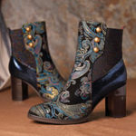 New SOCOFY Stitching Embossed Leather Boots