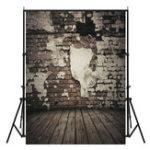 New 5x7FT Vinyl Black Brick Wall Wood Floor Photography Backdrop Background Studio Prop