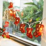 New Christmas Red Socks String Light Battery Powered LED Fairy Holiday Light Easter New Year Home Decor Lamp