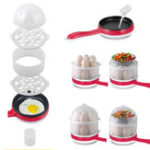 New Electric 14 Egg Boiler Food Steamer Cooking Machine With Frying Pan Non-stick