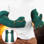 New 60cm Cowhide Electric Welding Gloves Leather Gear Mitten Long Heat Protect Warm