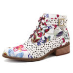 New SOCOFY Handmade Painting Stitching Leather Zipper Boots