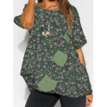 New Women O-neck Irregular Hem Floral Blouse
