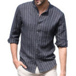New Mens Casual Shirts Cotton Vertical Striped Printing Shirts