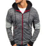 New Men Zipper Color Block Hooded Sweatshirt