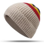 New Men Women Vintage Stripe Earmuffs Knit Beanie Hat