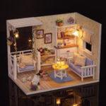 New  Kitten Diary Doll House Hand-assembled DIY Toys Cats Children Light Cover Miniature Model Gift Decor