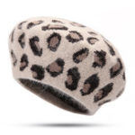New Women Warm Retro Leopard Rabbit Fur Knit Beret Octagon Cap