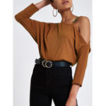 New Casual Off-shoulder Long Sleeve Solid Color Blouse