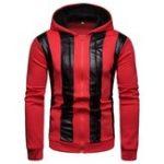 New Men Color Block Zipper Patchwork Hooded Sweatshirt