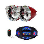 New 2.1A Multifunctional Motorcycle Blue Tooth Music Audio Speaker With LCD Screen Player Clock