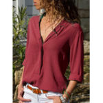 New Women Long Sleeve V-neck Solid Color Casual Blouse