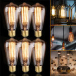 New 6PCS ST64 40W E27 Dimmable Edison Antique Vintage Filament Incandescent Light Bulb AC220V