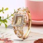 New Fashionable Pearl Bracelet Diamond Women Quartz Watch