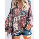 New Women V Neck Boho Floral Print Blouse