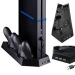 New Dual Cooling Fan Vertical Stand Charging Station Game Controller Charger for Sony Playstation 4 PS4 Gamepad