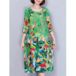 New Women Elegant Art Print 3/4 Sleeve Loose Dress