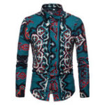 New Mens Contrast Color Printing Long Sleeve Slim Fit Shirts