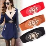 New Women PU Leather Buckle Elastic Stretch Wide Waist Belt