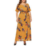 New Plus Size Elegant Floral Print Short Sleeve Long Dress
