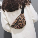 New Women Plush Leopard Print Waist Bag Crossbody Bag