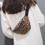New Women Plush Leopard Print Waist Bag Crossbody Bag