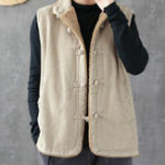 New Mens Ethnic Style Vintage Corduroy Frog Button Thick Vest
