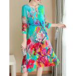 New Elegant Floral Print Half Sleeve Dress For Women