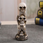 New Skull Car Ornament Hear/See/Speak No Evil Stacked Totem Pole Desktop Furnishing Articles Gothic Dark Science Toy