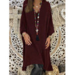 New Plus Size Solid Color V-neck Long Sleeve Long Blouse
