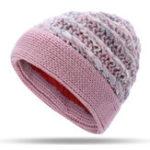 New Women Warm Fleece Lining Hand-Knitted Hat Woollen Beanie