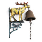 New Cast Iron Stag Deer Antique Door Bell Bracket Wall Mounted Doorbell Garden Home Decor