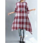 New Plus Size Vintage Plaid Long Sleeve Button Long Blouse