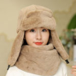 New Winter Warm Plush Earmuffs Trapper Hat with Scarf