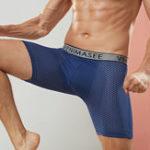 New Mens Mesh Breathable U Convex Lengthen Sport Boxer Underwear