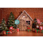 New 5x7FT Vinyl Christmas Tree Cabin Candy Bar Brick Wall Photography Backdrop Backgrpound Studio Prop