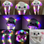 New 60CM Electric Rabbit Ear Hat LED Light Can Move Airbag Cap Stuffed Plush Gift Record Video Dance Toy