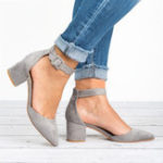 New Large Size Women Chunky Heel Ankle Strap Pumps